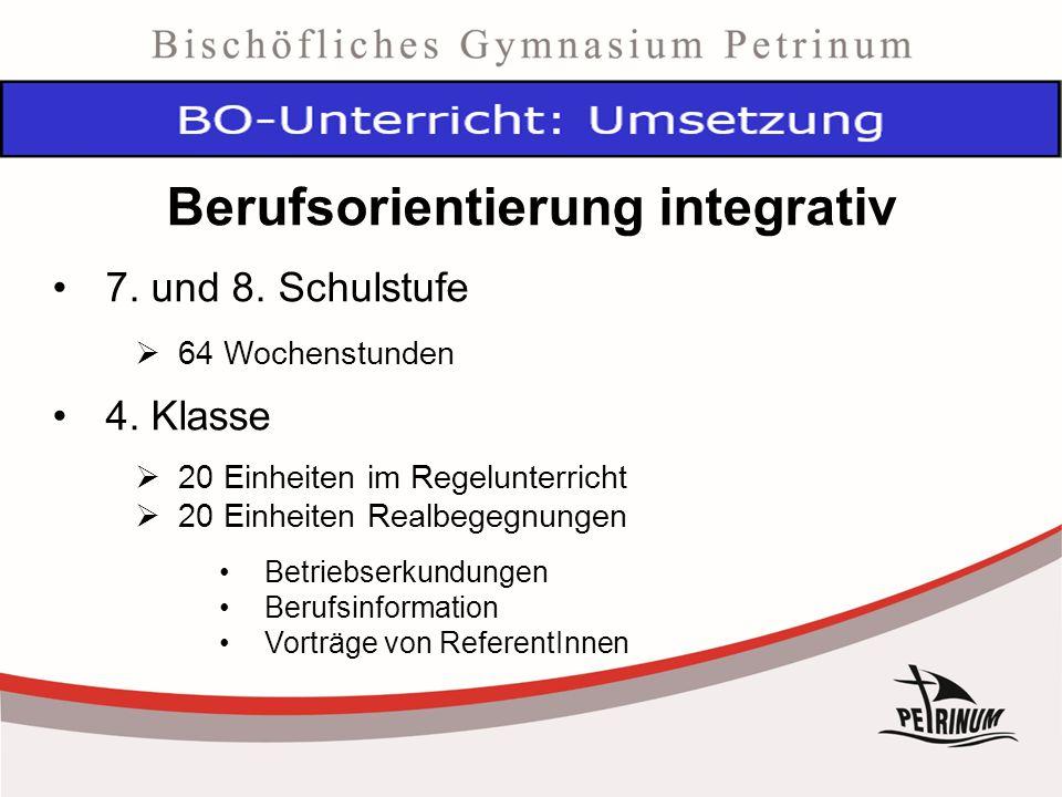 Berufsorientierung integrativ 7. und 8. Schulstufe  64 Wochenstunden 4.