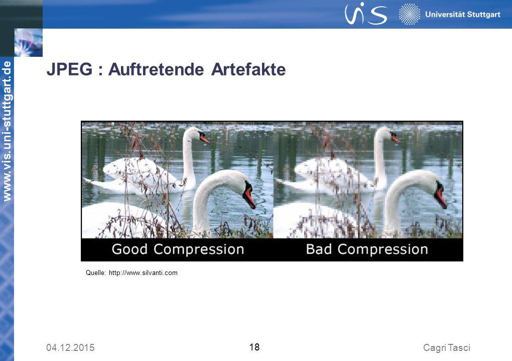www.vis.uni-stuttgart.de JPEG : Auftretende Artefakte Quelle: http://www.silvanti.com Cagri Tasci04.12.2015 18