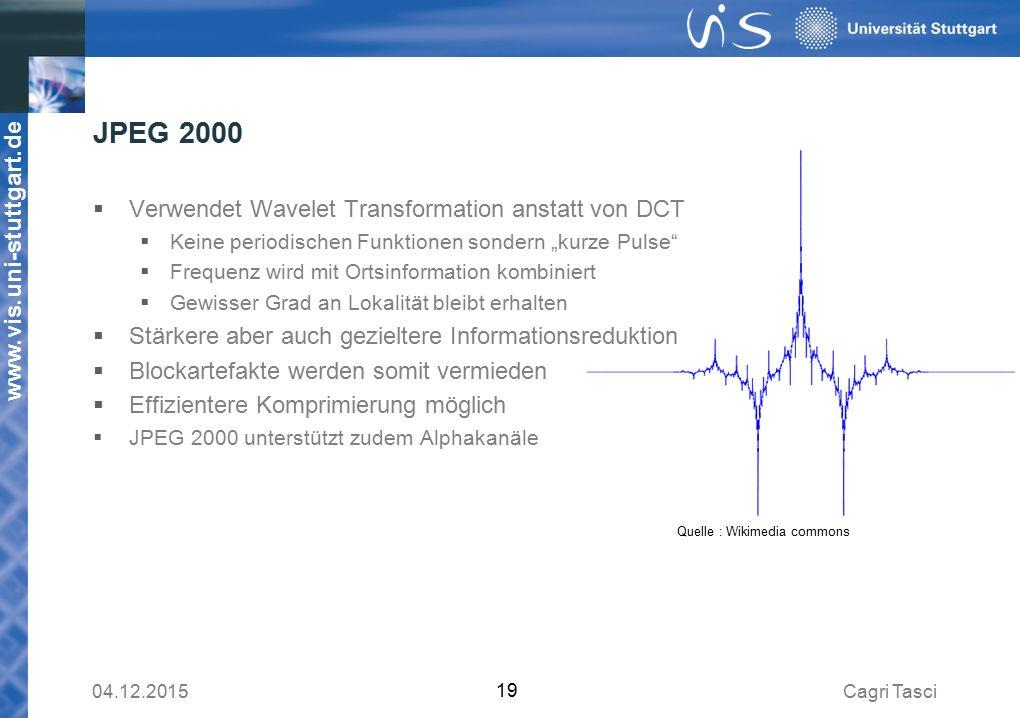 """www.vis.uni-stuttgart.de JPEG 2000  Verwendet Wavelet Transformation anstatt von DCT  Keine periodischen Funktionen sondern """"kurze Pulse  Frequenz wird mit Ortsinformation kombiniert  Gewisser Grad an Lokalität bleibt erhalten  Stärkere aber auch gezieltere Informationsreduktion  Blockartefakte werden somit vermieden  Effizientere Komprimierung möglich  JPEG 2000 unterstützt zudem Alphakanäle Cagri Tasci04.12.2015 19 Quelle : Wikimedia commons"""