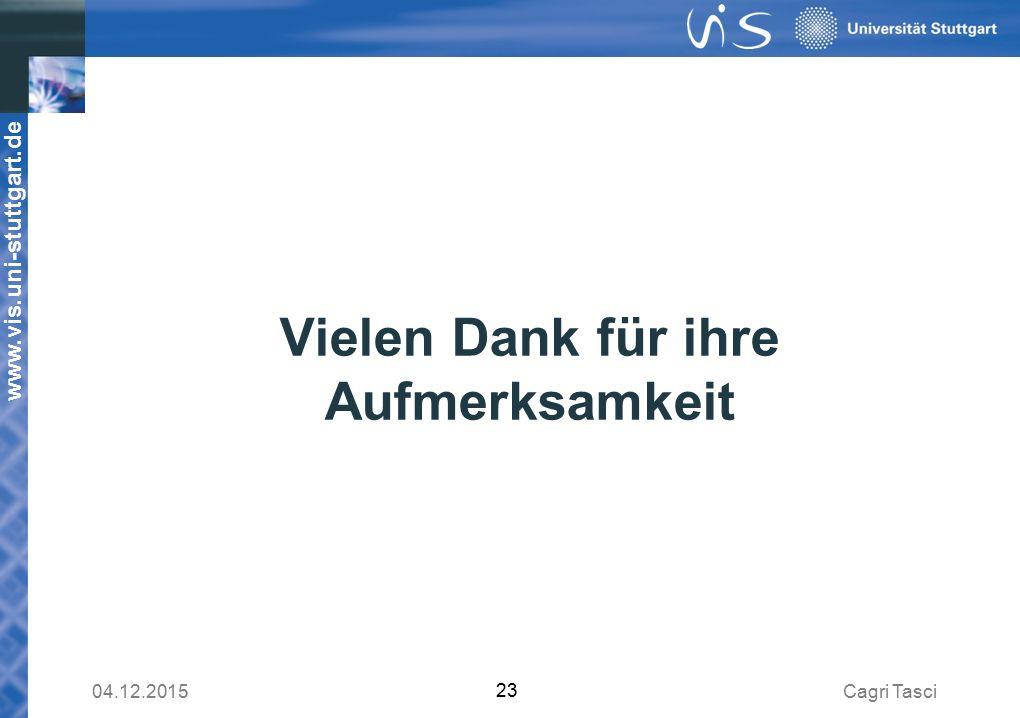 www.vis.uni-stuttgart.de Vielen Dank für ihre Aufmerksamkeit Cagri Tasci04.12.2015 23