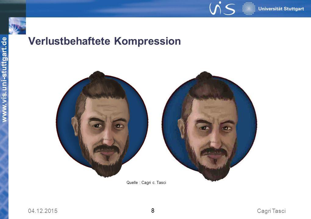 www.vis.uni-stuttgart.de Verlustbehaftete Kompression Cagri Tasci04.12.2015 8 Quelle : Cagri c.