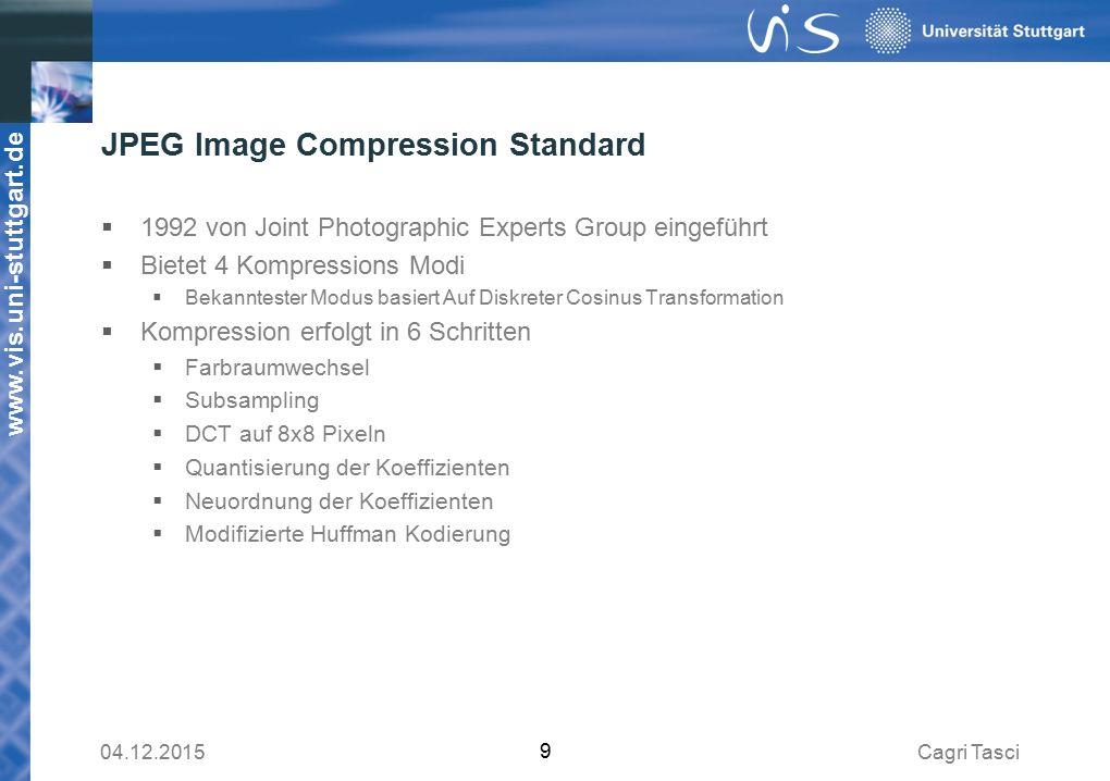 www.vis.uni-stuttgart.de JPEG Image Compression Standard  1992 von Joint Photographic Experts Group eingeführt  Bietet 4 Kompressions Modi  Bekanntester Modus basiert Auf Diskreter Cosinus Transformation  Kompression erfolgt in 6 Schritten  Farbraumwechsel  Subsampling  DCT auf 8x8 Pixeln  Quantisierung der Koeffizienten  Neuordnung der Koeffizienten  Modifizierte Huffman Kodierung Cagri Tasci04.12.2015 9