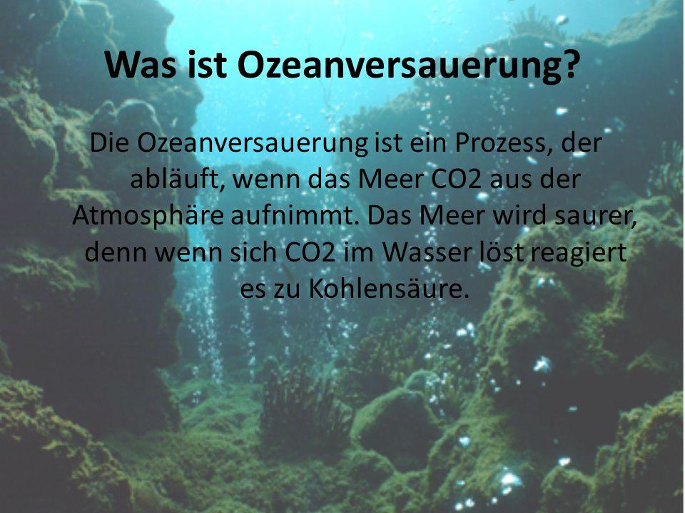 Was ist Ozeanversauerung? Die Ozeanversauerung ist ein Prozess, der abläuft, wenn das Meer CO2 aus der Atmosphäre aufnimmt. Das Meer wird saurer, denn