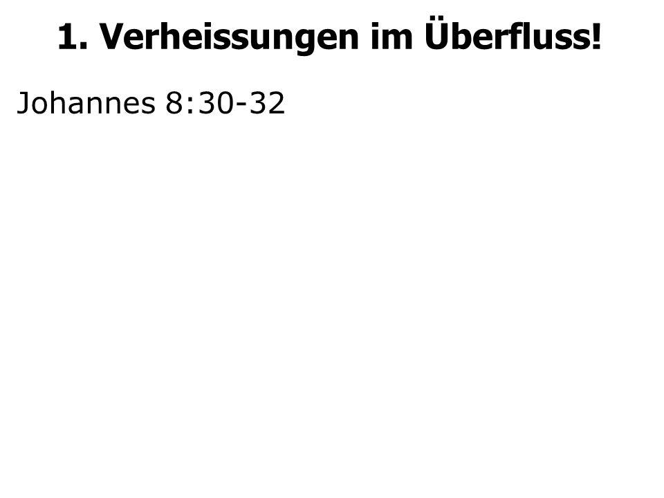 Johannes 8:30-32 1. Verheissungen im Überfluss!