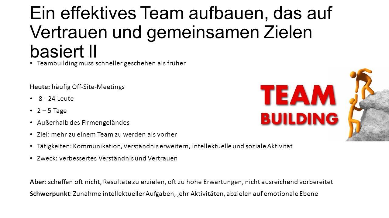 Ein effektives Team aufbauen, das auf Vertrauen und gemeinsamen Zielen basiert II Teambuilding muss schneller geschehen als früher Heute: häufig Off-S