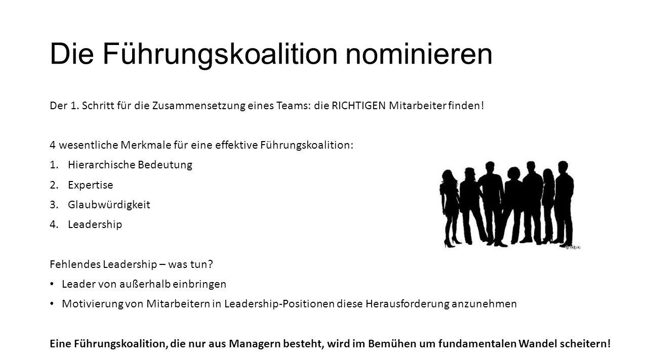 Die Führungskoalition nominieren Der 1. Schritt für die Zusammensetzung eines Teams: die RICHTIGEN Mitarbeiter finden! 4 wesentliche Merkmale für eine
