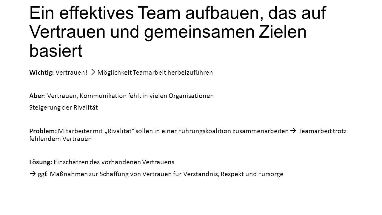 Ein effektives Team aufbauen, das auf Vertrauen und gemeinsamen Zielen basiert Wichtig: Vertrauen!  Möglichkeit Teamarbeit herbeizuführen Aber: Vertr