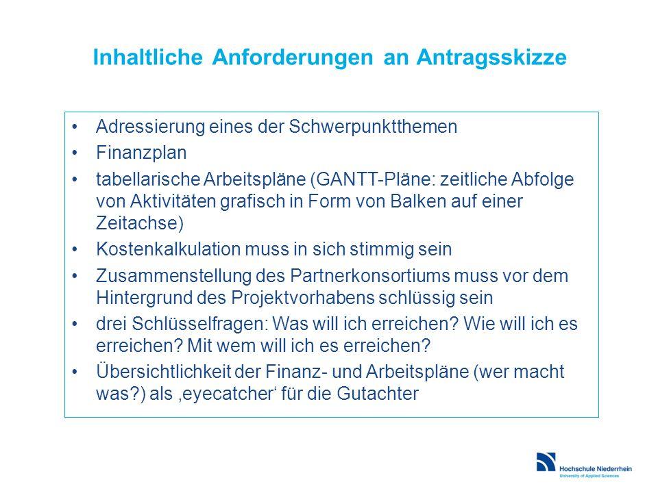 Inhaltliche Anforderungen an Antragsskizze Adressierung eines der Schwerpunktthemen Finanzplan tabellarische Arbeitspläne (GANTT-Pläne: zeitliche Abfo