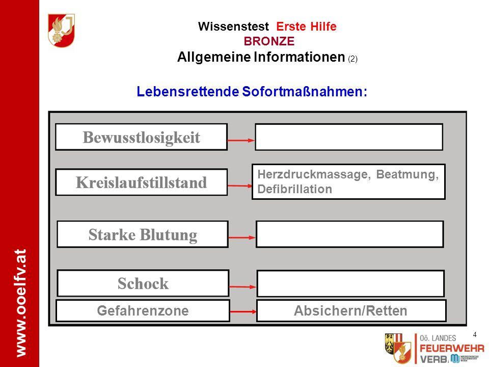 www.ooelfv.at Wissenstest Erste Hilfe BRONZE Allgemeine Informationen (1) normale 3