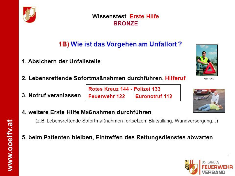 www.ooelfv.at Wissenstest Erste Hilfe BRONZE Fragen zum Wissenstest BRONZE 8