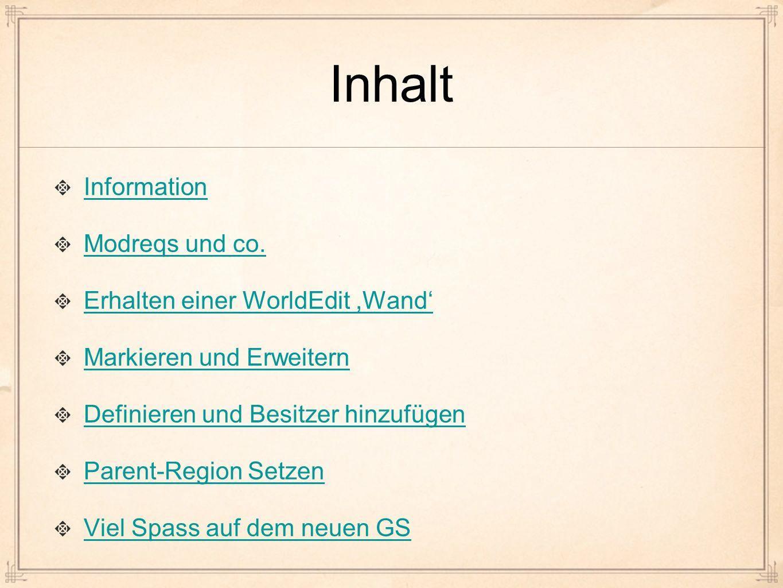 Inhalt Information Modreqs und co.