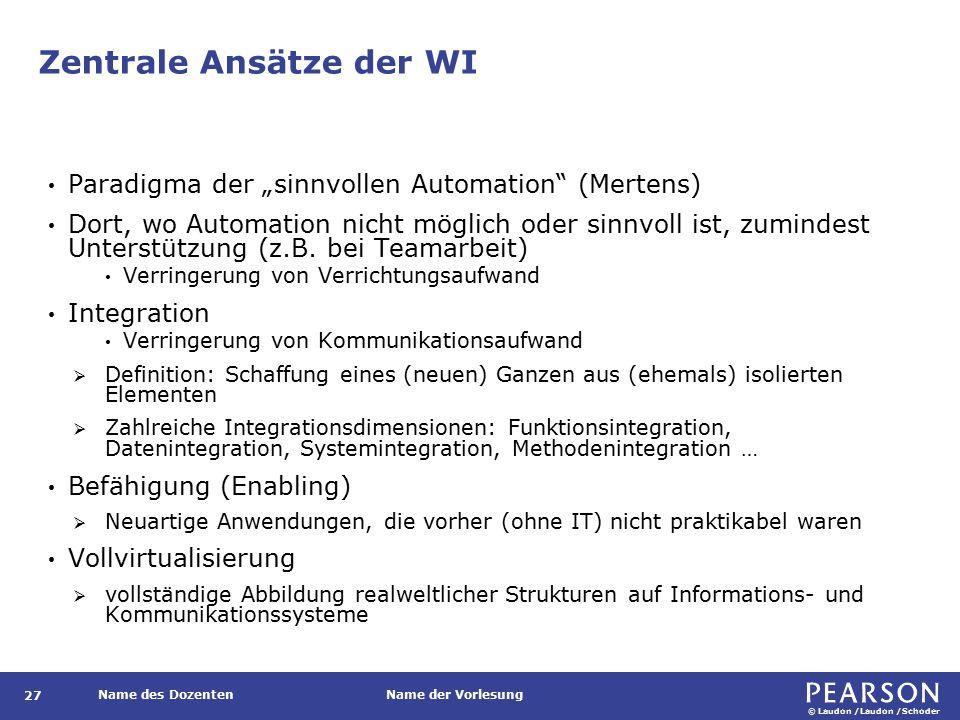 """© Laudon /Laudon /Schoder Name des DozentenName der Vorlesung Zentrale Ansätze der WI 27 Paradigma der """"sinnvollen Automation (Mertens) Dort, wo Automation nicht möglich oder sinnvoll ist, zumindest Unterstützung (z.B."""