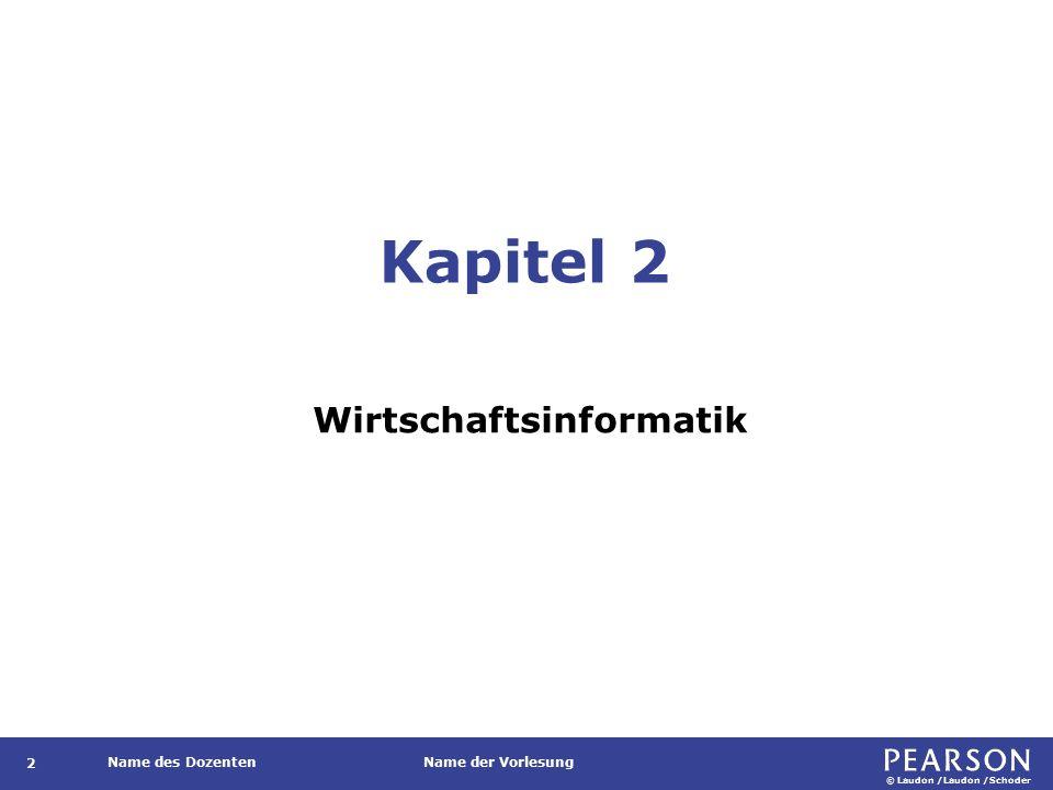 © Laudon /Laudon /Schoder Name des DozentenName der Vorlesung Kapitel 2 Wirtschaftsinformatik 2