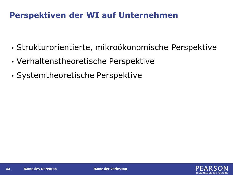 © Laudon /Laudon /Schoder Name des DozentenName der Vorlesung Perspektiven der WI auf Unternehmen 44 Strukturorientierte, mikroökonomische Perspektive Verhaltenstheoretische Perspektive Systemtheoretische Perspektive