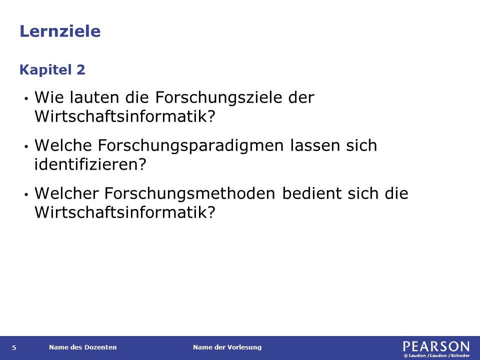 © Laudon /Laudon /Schoder Name des DozentenName der Vorlesung Lernziele 5 Wie lauten die Forschungsziele der Wirtschaftsinformatik.