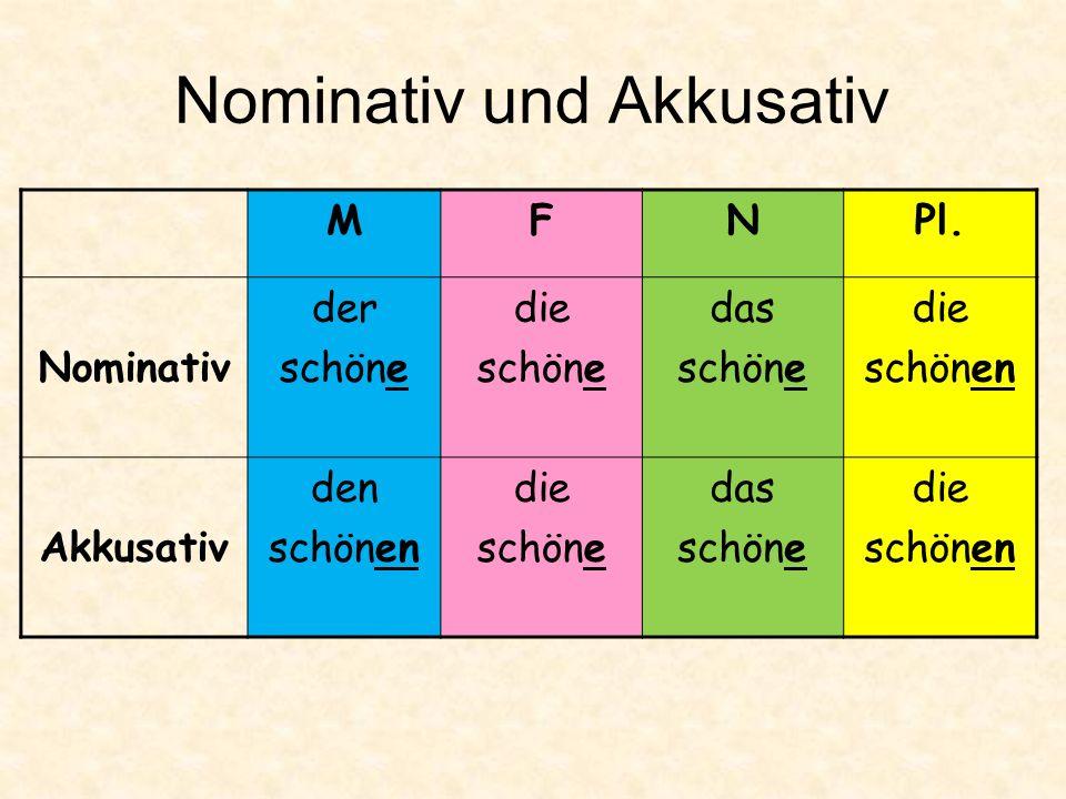 Nominativ und Akkusativ MFNPl.