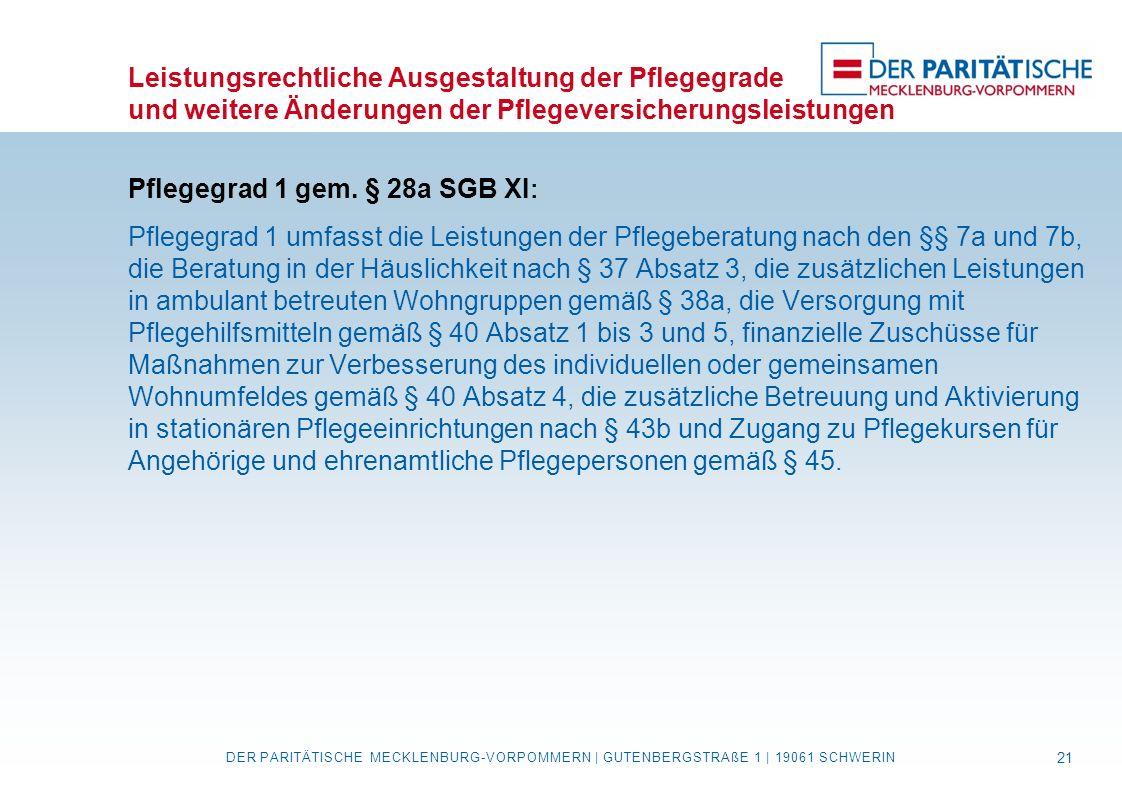 Leistungsrechtliche Ausgestaltung der Pflegegrade und weitere Änderungen der Pflegeversicherungsleistungen Pflegegrad 1 gem. § 28a SGB XI : Pflegegrad