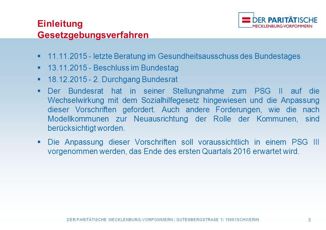 Einleitung Gesetzgebungsverfahren  11.11.2015 - letzte Beratung im Gesundheitsausschuss des Bundestages  13.11.2015 - Beschluss im Bundestag  18.12