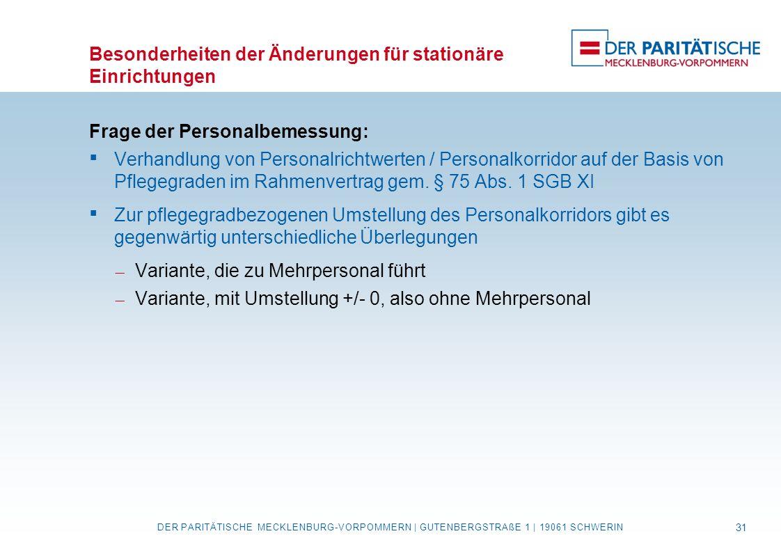 Besonderheiten der Änderungen für stationäre Einrichtungen Frage der Personalbemessung:  Verhandlung von Personalrichtwerten / Personalkorridor auf d