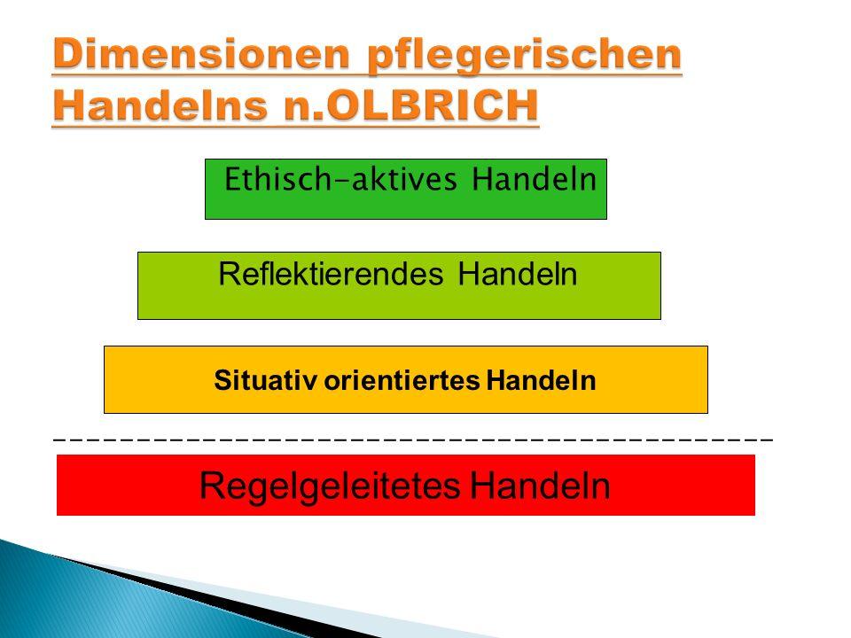 Ethisch-aktives Handeln Reflektierendes Handeln Situativ orientiertes Handeln Regelgeleitetes Handeln --------------------------------------------