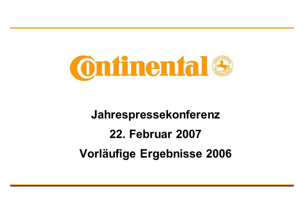 Jahrespressekonferenz 22. Februar 2007 Vorläufige Ergebnisse 2006