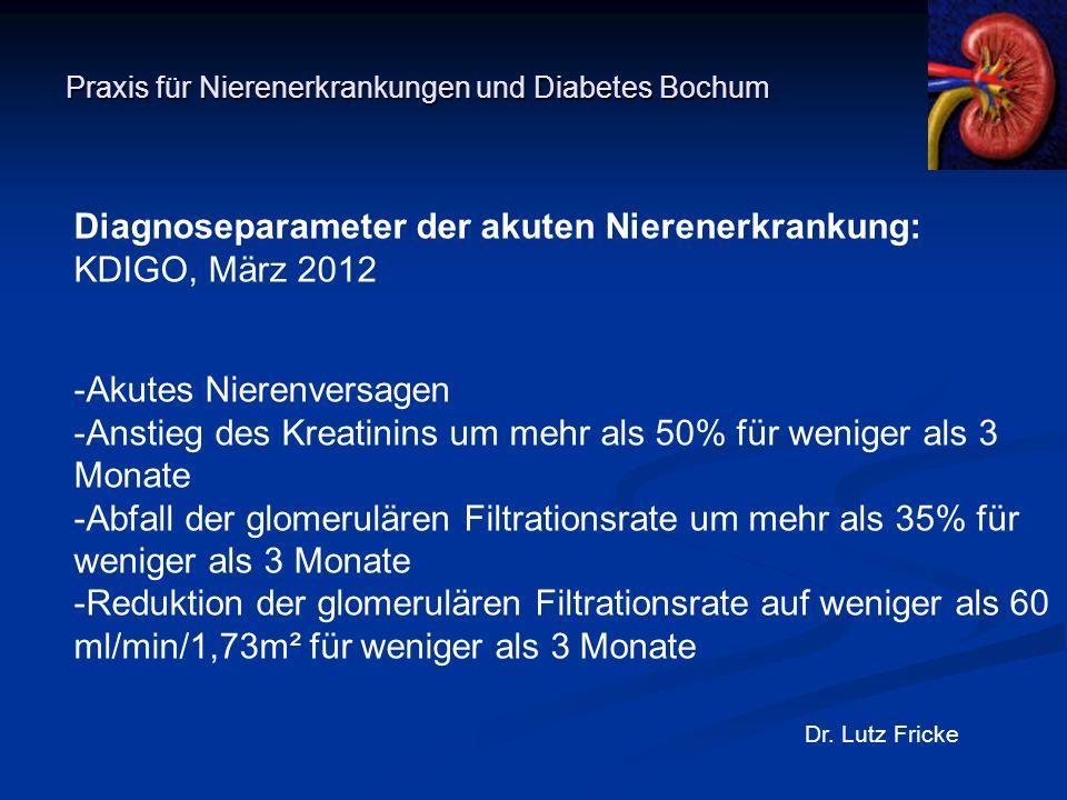 Praxis für Nierenerkrankungen und Diabetes Bochum Dr. Lutz Fricke Diagnoseparameter der akuten Nierenerkrankung: KDIGO, März 2012 -Akutes Nierenversag