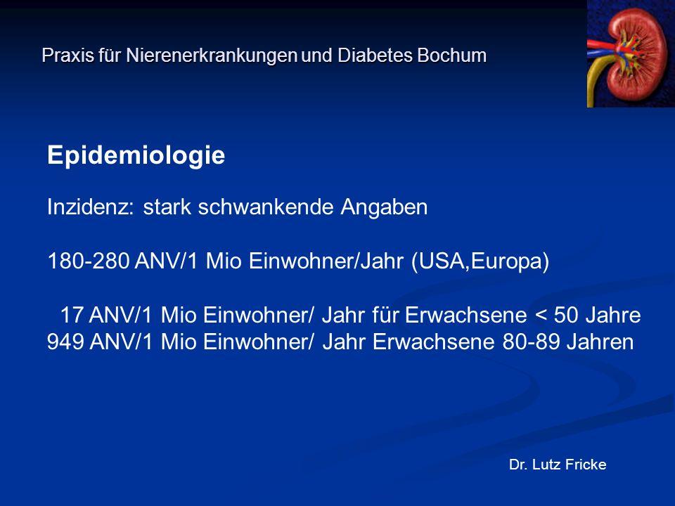 Praxis für Nierenerkrankungen und Diabetes Bochum Dr. Lutz Fricke Epidemiologie Inzidenz: stark schwankende Angaben 180-280 ANV/1 Mio Einwohner/Jahr (