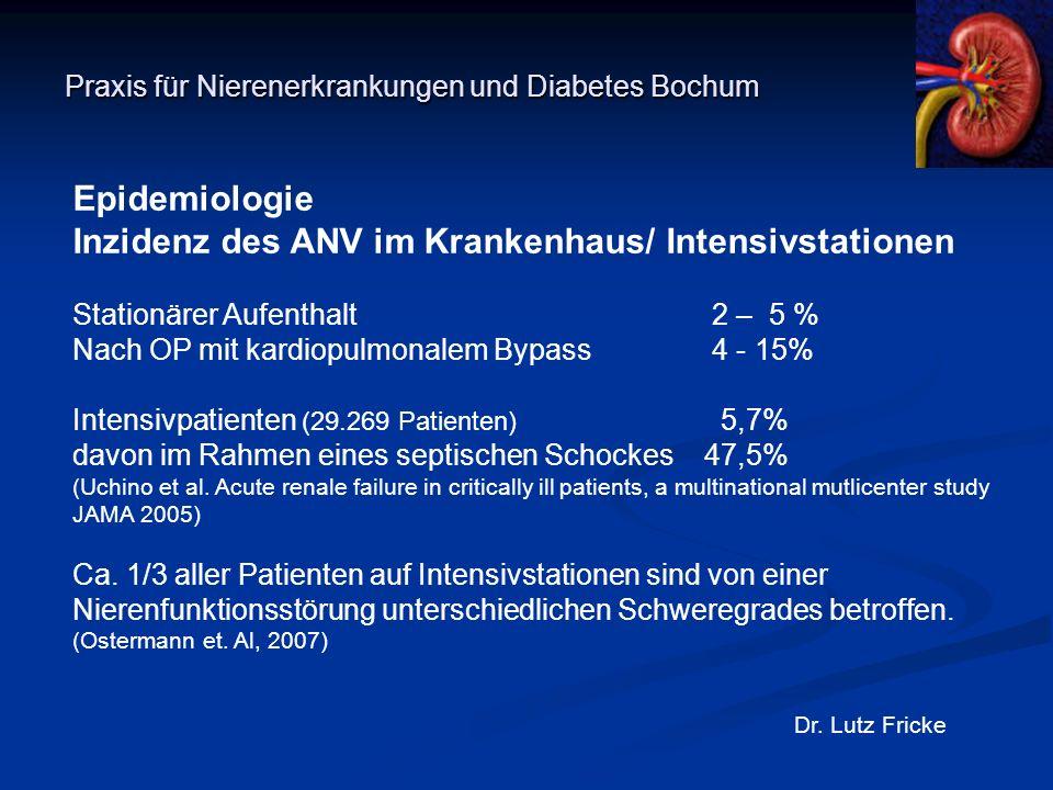 Praxis für Nierenerkrankungen und Diabetes Bochum Dr. Lutz Fricke Epidemiologie Inzidenz des ANV im Krankenhaus/ Intensivstationen Stationärer Aufenth
