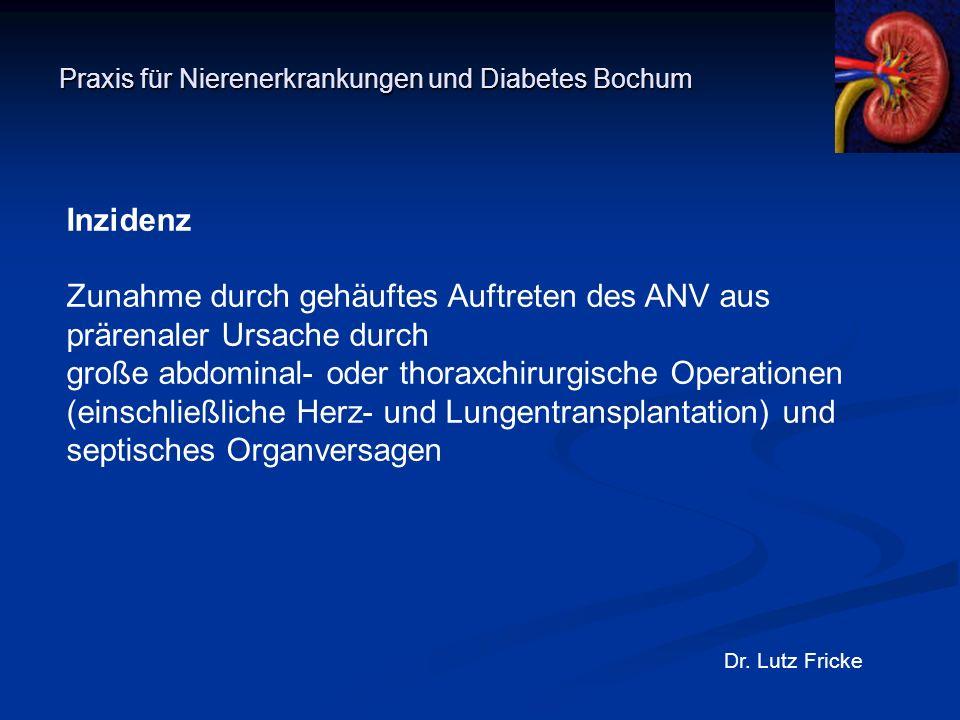 Praxis für Nierenerkrankungen und Diabetes Bochum Dr. Lutz Fricke Inzidenz Zunahme durch gehäuftes Auftreten des ANV aus prärenaler Ursache durch groß