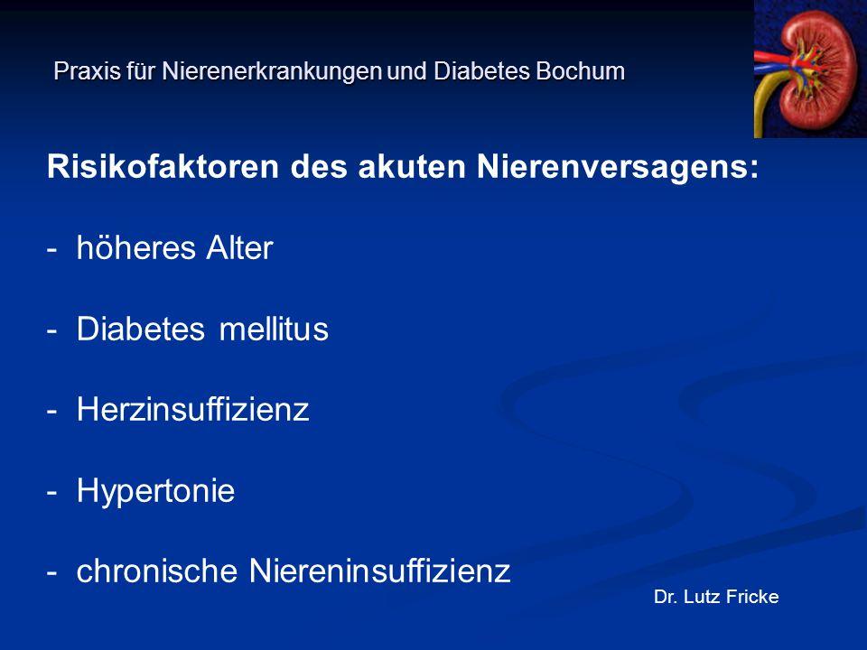 Praxis für Nierenerkrankungen und Diabetes Bochum Dr. Lutz Fricke Risikofaktoren des akuten Nierenversagens: - höheres Alter - Diabetes mellitus - Her