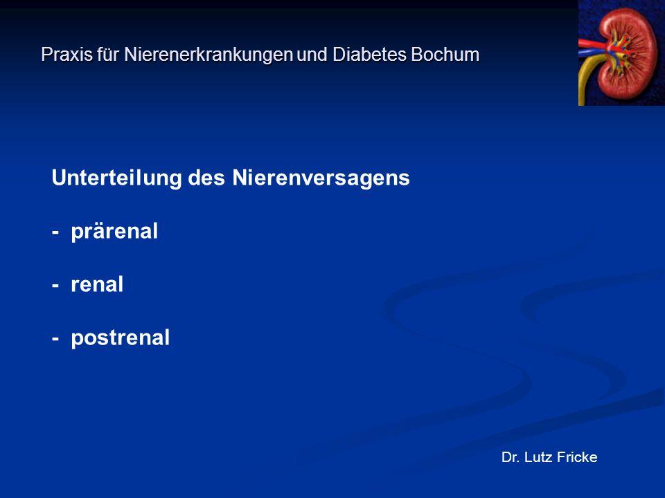 Praxis für Nierenerkrankungen und Diabetes Bochum Dr. Lutz Fricke Unterteilung des Nierenversagens - prärenal - renal - postrenal