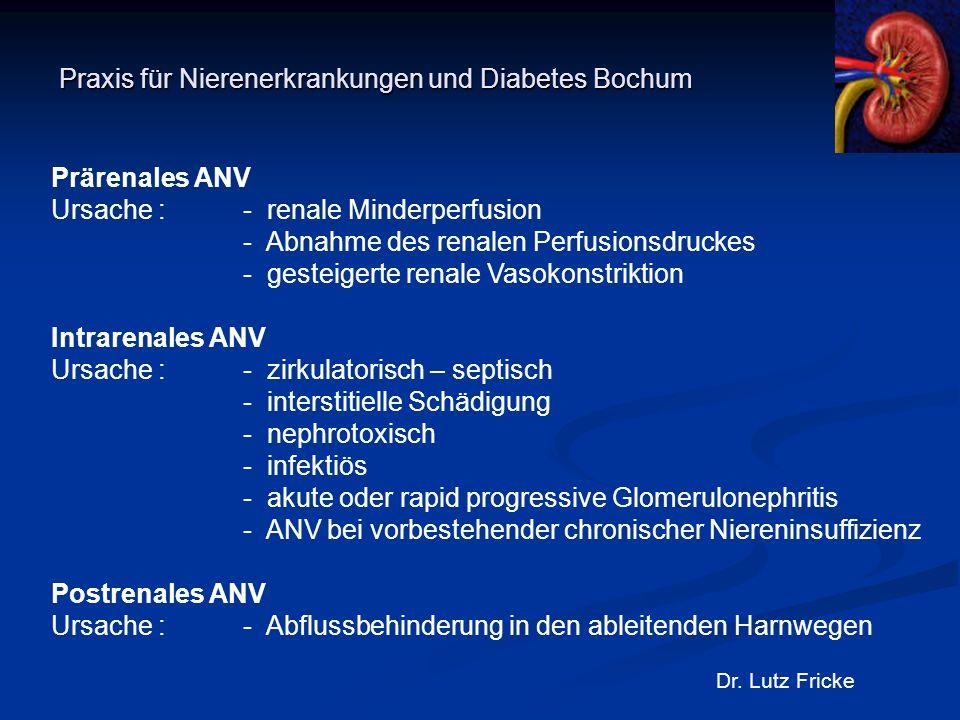 Praxis für Nierenerkrankungen und Diabetes Bochum Dr. Lutz Fricke Prärenales ANV Ursache : - renale Minderperfusion - Abnahme des renalen Perfusionsdr