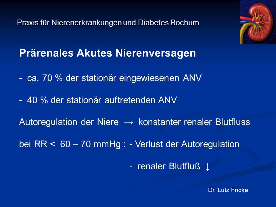 Praxis für Nierenerkrankungen und Diabetes Bochum Dr. Lutz Fricke Prärenales Akutes Nierenversagen - ca. 70 % der stationär eingewiesenen ANV - 40 % d
