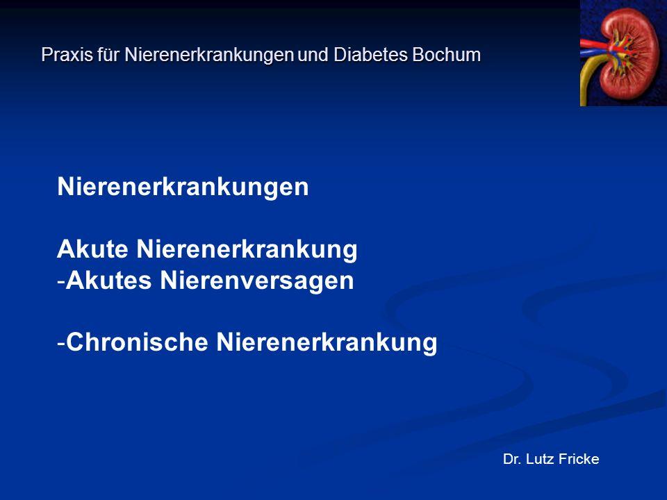 Praxis für Nierenerkrankungen und Diabetes Bochum Dr. Lutz Fricke Nierenerkrankungen Akute Nierenerkrankung -Akutes Nierenversagen -Chronische Nierene
