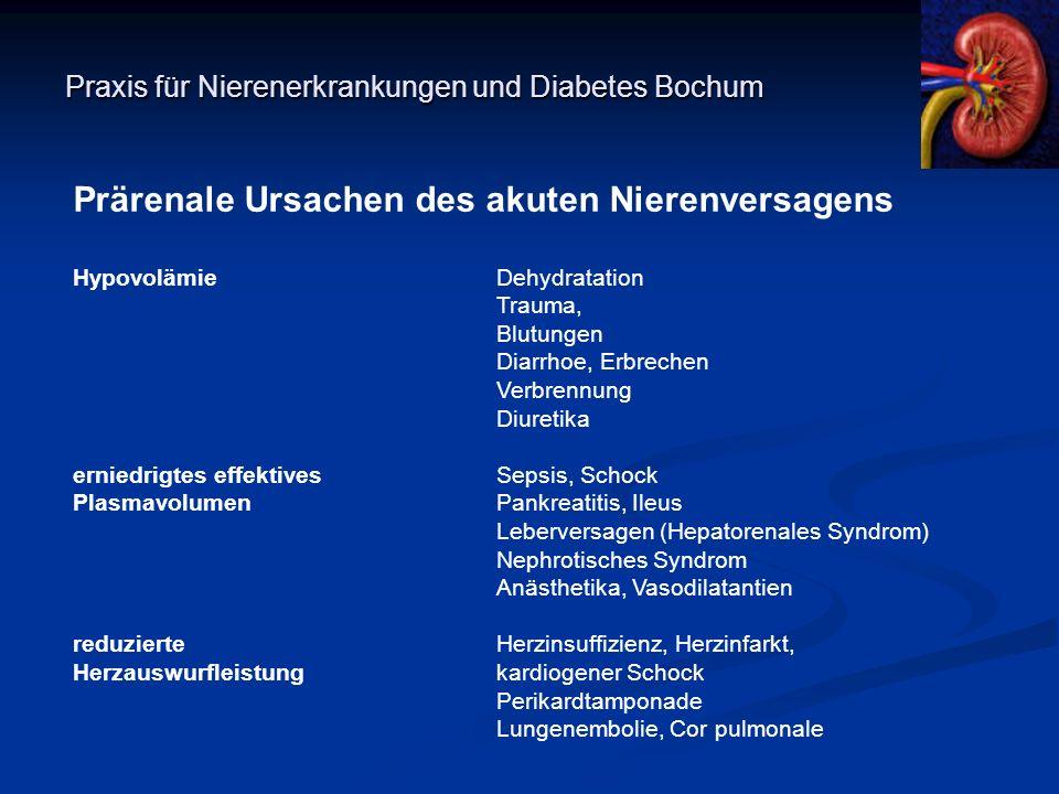 Praxis für Nierenerkrankungen und Diabetes Bochum Prärenale Ursachen des akuten Nierenversagens HypovolämieDehydratation Trauma, Blutungen Diarrhoe, E