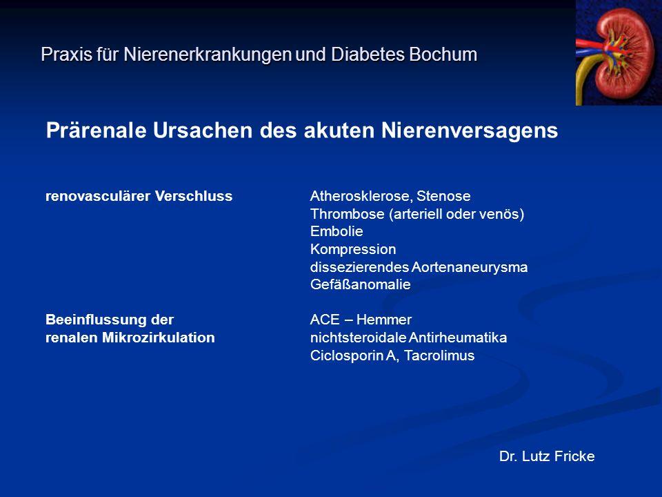 Praxis für Nierenerkrankungen und Diabetes Bochum Dr. Lutz Fricke Prärenale Ursachen des akuten Nierenversagens renovasculärer VerschlussAtheroskleros