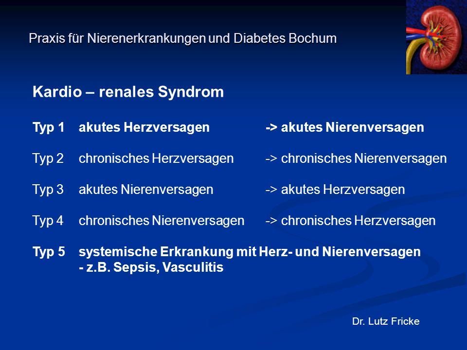 Praxis für Nierenerkrankungen und Diabetes Bochum Dr. Lutz Fricke Kardio – renales Syndrom Typ 1akutes Herzversagen-> akutes Nierenversagen Typ 2chron