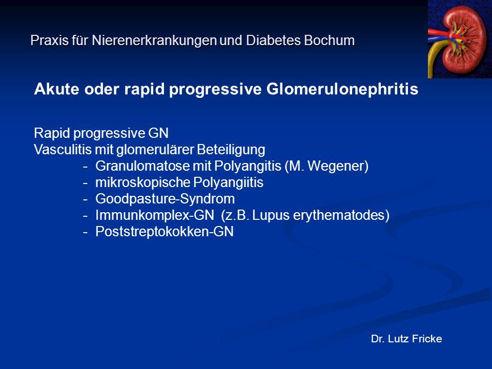 Praxis für Nierenerkrankungen und Diabetes Bochum Dr. Lutz Fricke Akute oder rapid progressive Glomerulonephritis Rapid progressive GN Vasculitis mit