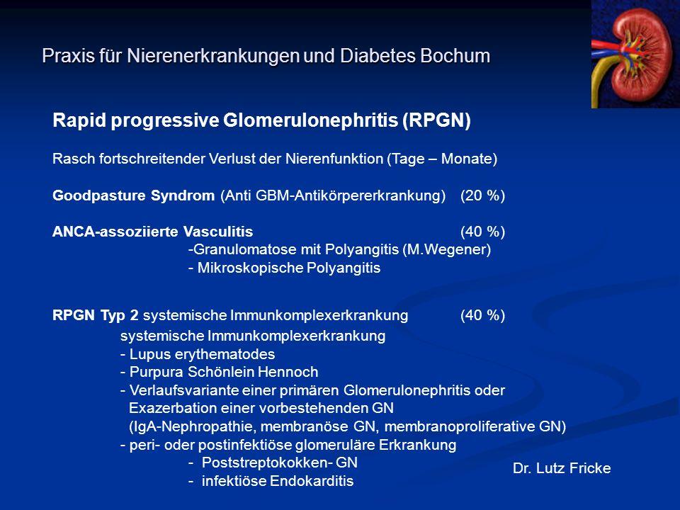 Praxis für Nierenerkrankungen und Diabetes Bochum Dr. Lutz Fricke Rapid progressive Glomerulonephritis (RPGN) Rasch fortschreitender Verlust der Niere