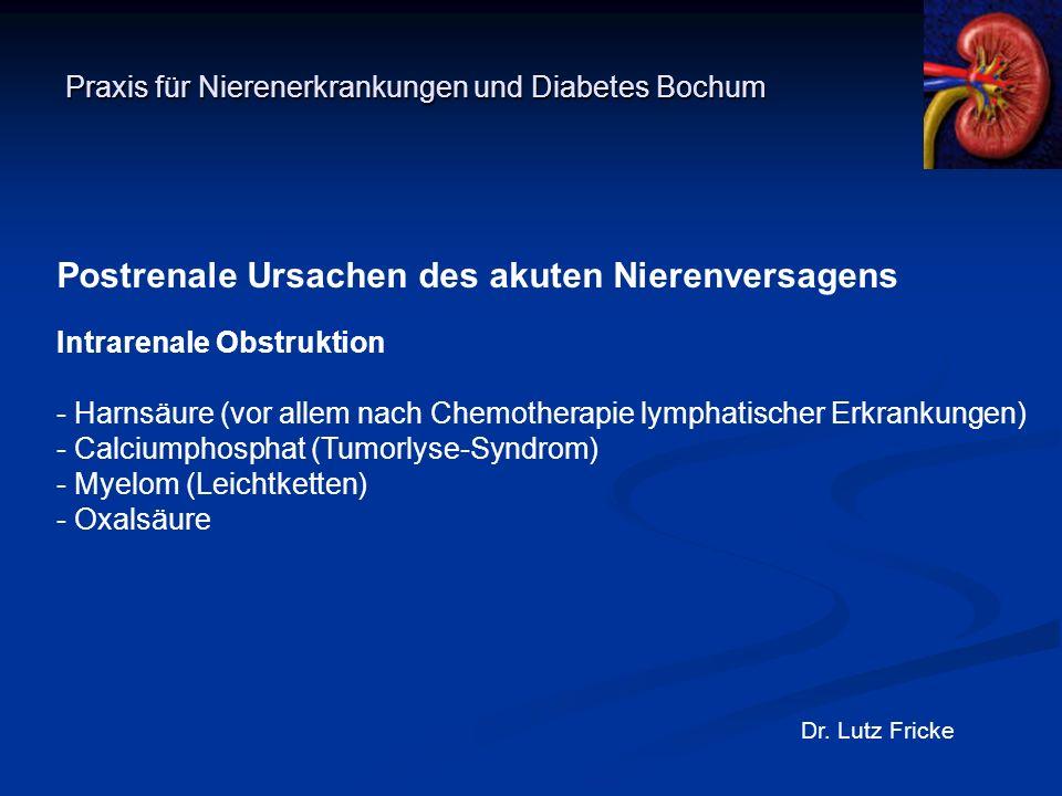Praxis für Nierenerkrankungen und Diabetes Bochum Dr. Lutz Fricke Postrenale Ursachen des akuten Nierenversagens Intrarenale Obstruktion - Harnsäure (