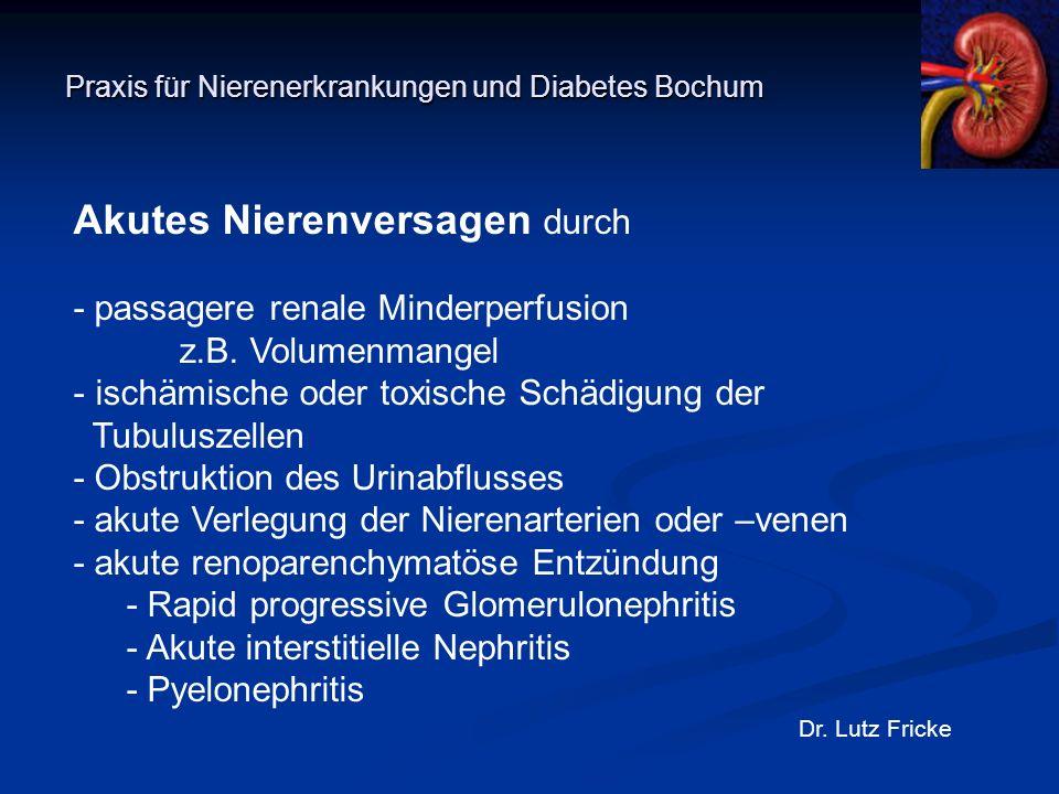 Praxis für Nierenerkrankungen und Diabetes Bochum Dr. Lutz Fricke Akutes Nierenversagen durch - passagere renale Minderperfusion z.B. Volumenmangel -