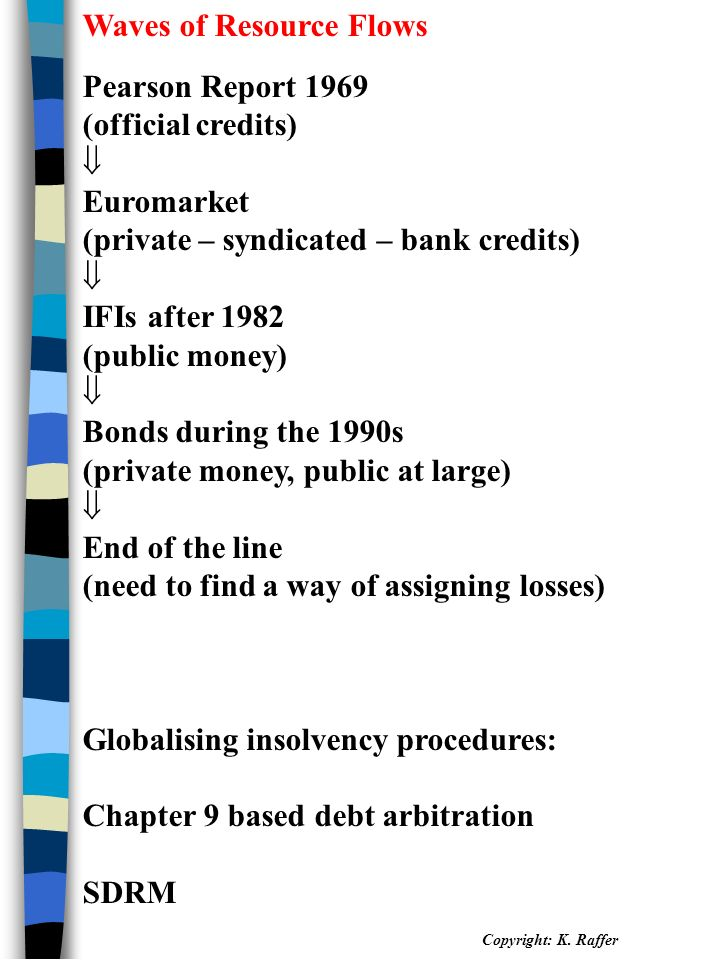 Waves of Resource Flows Pearson Report 1969 (official credits)  Euromarket (private – syndicated – bank credits)  IFIs after 1982 (public money)  Bonds during the 1990s (private money, public at large)  End of the line (need to find a way of assigning losses) Globalising insolvency procedures: Chapter 9 based debt arbitration SDRM Copyright: K.
