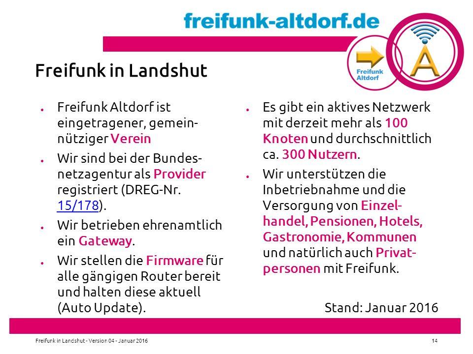 ● Freifunk Altdorf ist eingetragener, gemein- nütziger Verein ● Wir sind bei der Bundes- netzagentur als Provider registriert (DREG-Nr.
