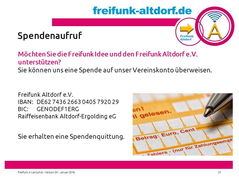Spendenaufruf Möchten Sie die Freifunk Idee und den Freifunk Altdorf e.V.