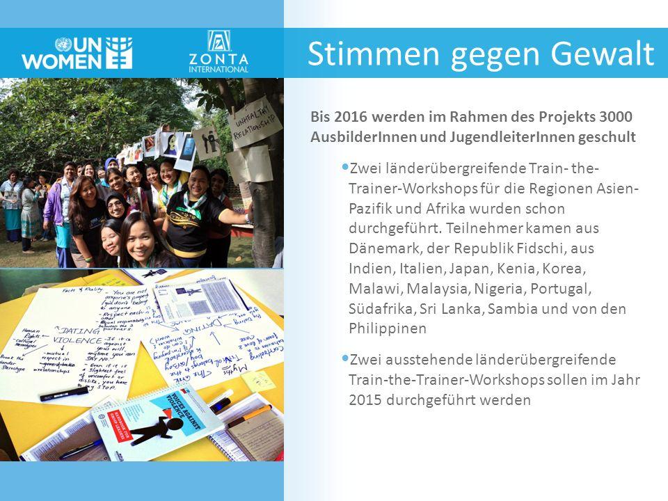Stimmen gegen Gewalt Bis 2016 werden im Rahmen des Projekts 3000 AusbilderInnen und JugendleiterInnen geschult Zwei länderübergreifende Train- the- Tr