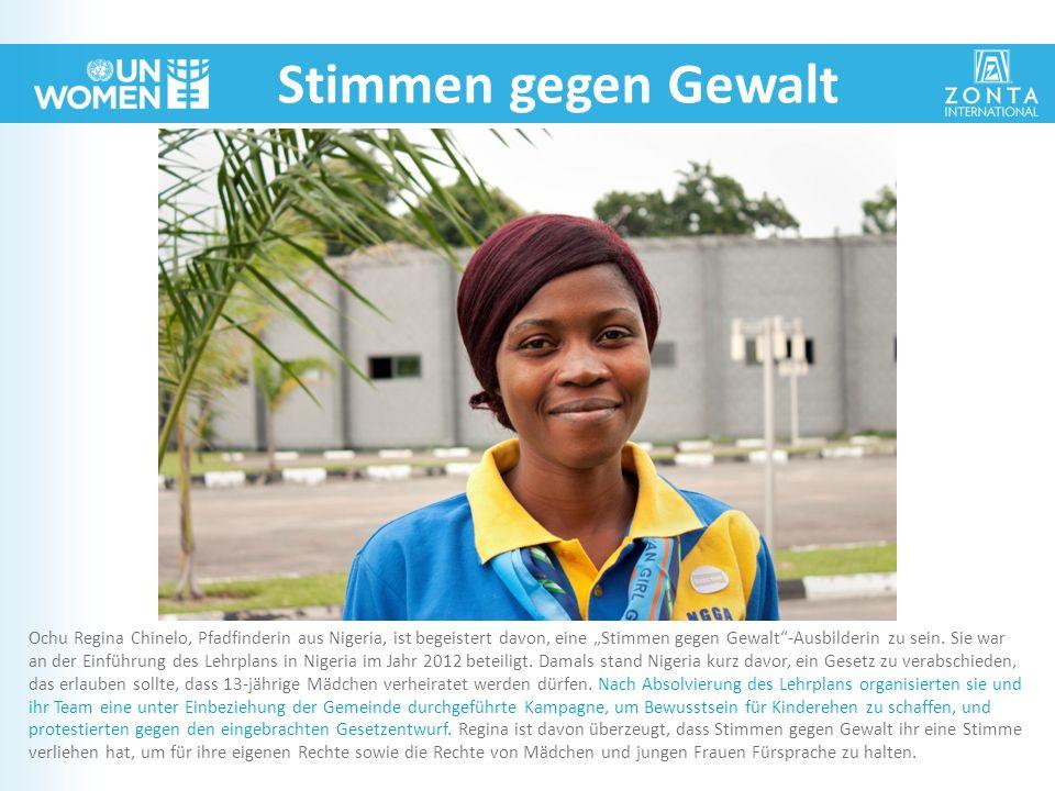 """Stimmen gegen Gewalt Ochu Regina Chinelo, Pfadfinderin aus Nigeria, ist begeistert davon, eine """"Stimmen gegen Gewalt""""-Ausbilderin zu sein. Sie war an"""