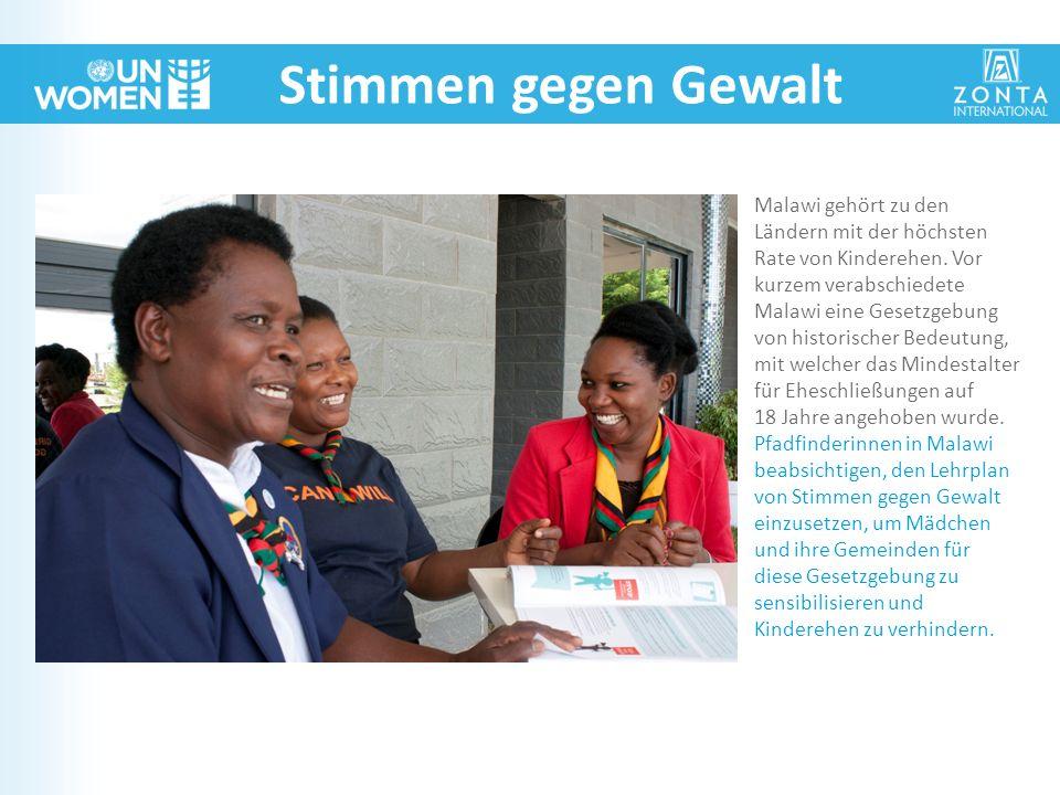 Stimmen gegen Gewalt Malawi gehört zu den Ländern mit der höchsten Rate von Kinderehen. Vor kurzem verabschiedete Malawi eine Gesetzgebung von histori