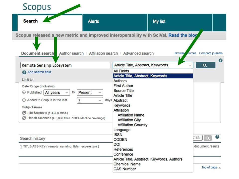 Suchhistorie RSS-Feed für die Suche erstellen Alert für die Suche erstellen Suche für andere Session sichern Verschiedene Such- anfragen kombinieren