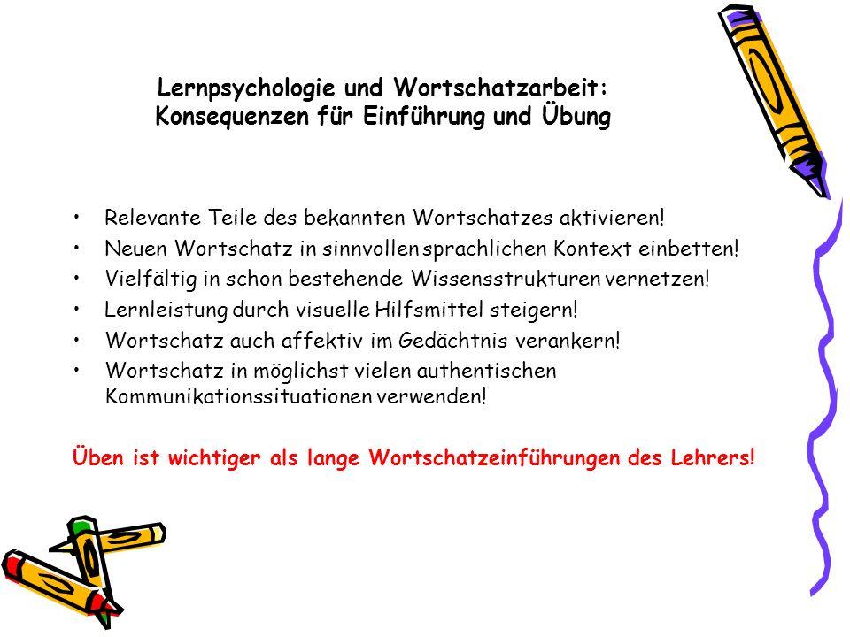 Lernpsychologie und Wortschatzarbeit: Konsequenzen für Einführung und Übung Relevante Teile des bekannten Wortschatzes aktivieren! Neuen Wortschatz in