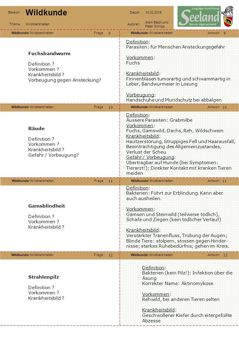Wildkunde/ WildkrankheitenFrageWildkunde/ WildkrankheitenAntwort Wildkunde/ WildkrankheitenFrageWildkunde/ WildkrankheitenAntwort Wildkunde/ WildkrankheitenFrageWildkunde/ WildkrankheitenAntwort Wildkunde/ WildkrankheitenFrageWildkunde/ WildkrankheitenAntwort Bereich Wildkunde Datum10.02.2015 ThemaWildkrankheitenAutoren Alain Batzli und Peter Schlup 13 14 16 15 14 15 16 Zecken Definition .